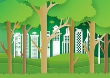 Forest and eco city paper art background Royalty Free Stock Image
