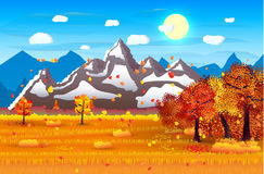 Nature landscape forest mountains field sun. Nature landscape with forest, field and mountains sun. vector illustration Royalty Free Stock Photos