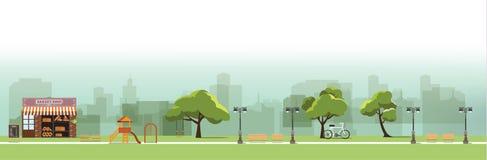 Nature landscape with garden,public park, bakery shop. Amusement park, vector illustration Royalty Free Stock Images