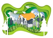 Nature landscape and eco city paper carve concept. Nature landscape and green eco city concept.Paper carve of environment conservation conceptual design paper Stock Photo