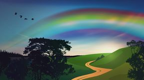 Rainbow over green field. Nature landscape with green field and rural road, near a lake and forest. Sunset scene, blue sky with soft clouds and rainbow, birds stock illustration