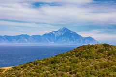 Nature Landscape of Holy Mountain Athos Greece Royalty Free Stock Photos