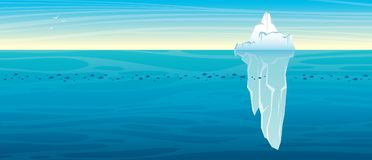 Nature landscape with iceberg. ocean and sky. Panoramic landscape - blue ocean with school of fishes and big iceberg on a sky background. Vector nature royalty free stock images