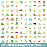 100 nature and landscape icons set, cartoon style. 100 nature and landscape icons set in cartoon style for any design vector illustration Royalty Free Stock Photography