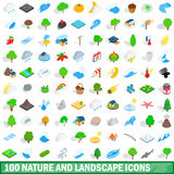 100 nature and landscape icons set. In isometric 3d style for any design vector illustration Stock Photos