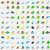 100 nature and landscape icons set. In isometric 3d style for any design vector illustration Royalty Free Stock Image