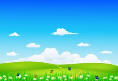 Nature landscape. Illustration of nature landscape with butterfly Stock Images