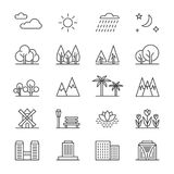 Nature landscape line vector elements and houses. Outline trees and mountains icons Stock Photos