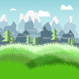 Nature landscape of meadow and pine trees mountain vector Stock Photography
