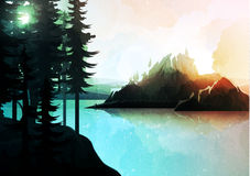 Nature landscape, mountain forest and lake, watercolor style. Stock Image