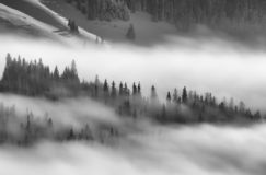 Nature landscape in the mountains on a beautiful cloudy morning, with fog and snow on the peaks stock photos