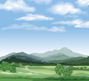 Nature landscape with mountains. Countryside skyline view Royalty Free Stock Image