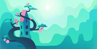 Nature landscape with mountains, green hills, tall house twisted by tree. Big blooming tree wraps the house. Mountain village stock illustration