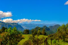 Nature landscape, mountains from xalapa mexico. Mexico landscape between the green of the vegetation and the blue sky with the peak of Orizaba Stock Images