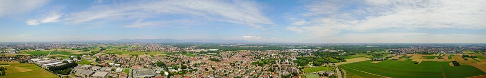 Nature and landscape, municipality of Solaro, Milan: Aerial view of a field, houses and homes. Italy Royalty Free Stock Images