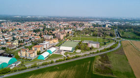 Nature and landscape, municipality of Solaro, Milano: Aerial view of a field, houses and homes, Italy Stock Images