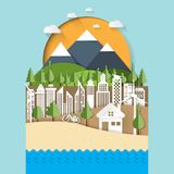 Eco and cityscape concept paper cut design Stock Images