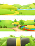 Nature landscape. Park and outdoor. Vector set. Nature landscape. Park and outdoor. Cartoon game background. 3d vector set Royalty Free Stock Photography