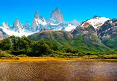 Nature landscape in Patagonia, Argentina. Beautiful nature landscape with Mt. Fitz Roy in Los Glaciares National Park, Patagonia, Argentina, South America stock image