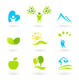 Nature, landscape, people and organic Icons. Icons set or graphic elements inspired by nature and life. Landscape, hills, people, leaves and organic living vector illustration