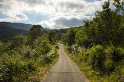 Beautiful nature and landscape photo of road in Kosinj Croatia. Nature and landscape photo of Kosinj and in Croatia. Beautiful outdoor on warm summer day. Calm Royalty Free Stock Photos