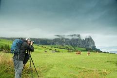 Nature and landscape photographer in Dolomite Royalty Free Stock Images