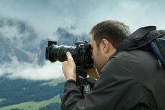 Nature and landscape photographer in Dolomite Royalty Free Stock Image