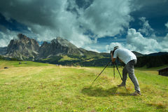 Nature and landscape photographer in Dolomite Stock Images