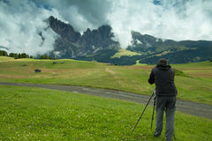 Nature and landscape photographer in Dolomite Stock Image