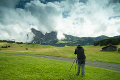 Nature and landscape photographer in Dolomite Royalty Free Stock Photo
