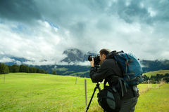 Nature and landscape photographer in Dolomite Stock Photo