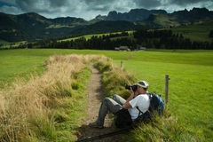 Nature and landscape photographer in Dolomite Stock Photos