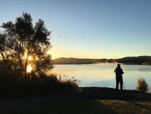 Nature and landscape photographer photographing at sunrise. Lake Rotorua in the centre of the North Island of New Zealand Stock Image