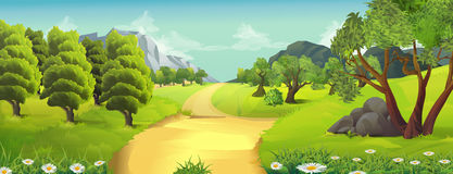Nature landscape, rural road. Vector background Royalty Free Stock Image
