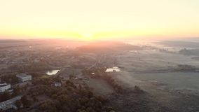 Nature landscape rural scenery aerial view sunrise. Nature landscape. Harmony balance peace. Rural scenery aerial view. Foggy skyline sunrise lens flare stock footage