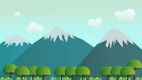 Nature landscape scene vector.Forest and mountain with sky. Background Stock Photography