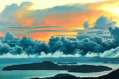 Nature Landscape. Scenic View Of Sunset Sky. Scenery Background. Nature Landscape. Scenic View Of Paradise Island During Sunset Or Sunrise Over The Sea With royalty free stock photos