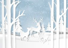 Nature landscape and deers family on winter season paper art bac Stock Image