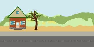Nature Landscape with suburban house stock illustration