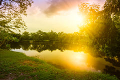 Nature landscape and sunset Royalty Free Stock Image