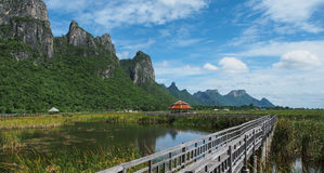 The nature landscape of Thailand, Khao-Sarm Roy Yod. The location is in Pra-Chub-Kri-Ri-Kan, Thailand. Traveller should go, very nice place, sky, and nature Royalty Free Stock Photography