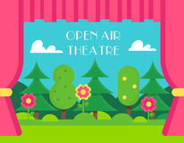 Nature Landscape and Theatre Curtains. Open Air and Outdoor Theatre Illustration Stock Photos