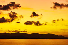Nature Landscape.  Tropical Orange Sunset Over Sea. Travel Thail Royalty Free Stock Photos