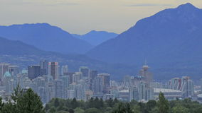 Nature Landscape and Urban Cityscape of Vancouver British Columbia Canada with Two Lions Cypress Grouse Mountains stock video footage