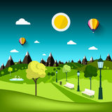 Nature Landscape. Vector Park Cartoon Royalty Free Stock Photos