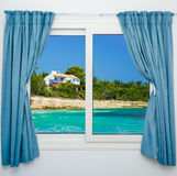 Nature landscape with  view through a window with curtains. Nature landscape with a view through a window with curtains Stock Image