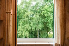 Nature landscape with a view through a window with green trees royalty free stock photo