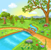 Nature landscape with water spring. Vector illustration of a natural landscape with water spring in the middle Stock Photo