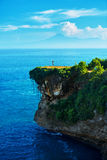 Nature Landscape. Woman On Tropical Cliff, Sea Rock On Island Stock Images