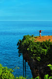 Nature Landscape. Woman On Tropical Cliff, Sea Rock On Island Royalty Free Stock Photo